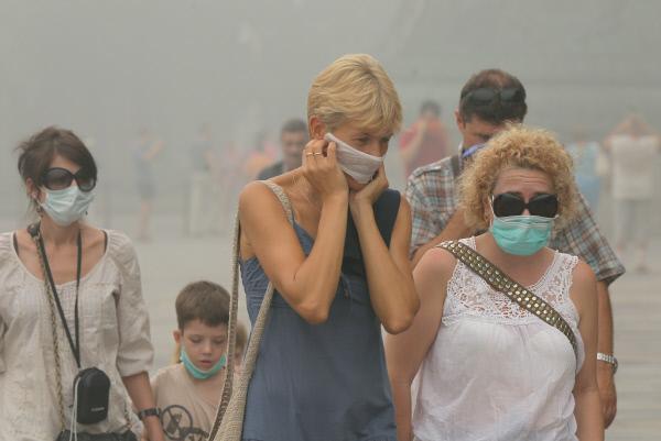 Гарь отпожаров вТомской области дошла доНовосибирска